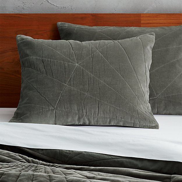 set of 2 vail graphite velvet standard shams