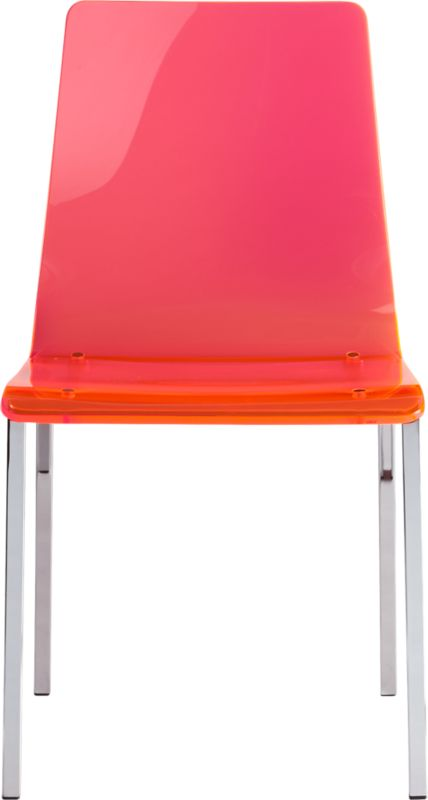 """<span class=""""copyHeader"""">clearly pops.</span> A brilliant chair out of thin air. No fabric, no leather, just one clean swoop of thick neon acrylic exposing architectural chrome-plated square steel frame. Formfitting curves in all the right places. Bright idea to dine or work. Translucent look opens up small rooms in holographic neon hue that looks orange or pink—make that punk—depending on the angle.<br /><br /><NEWTAG/><ul><li>Thick molded neon acrylic seat and back</li><li>Chrome-plated steel frame</li></ul>"""