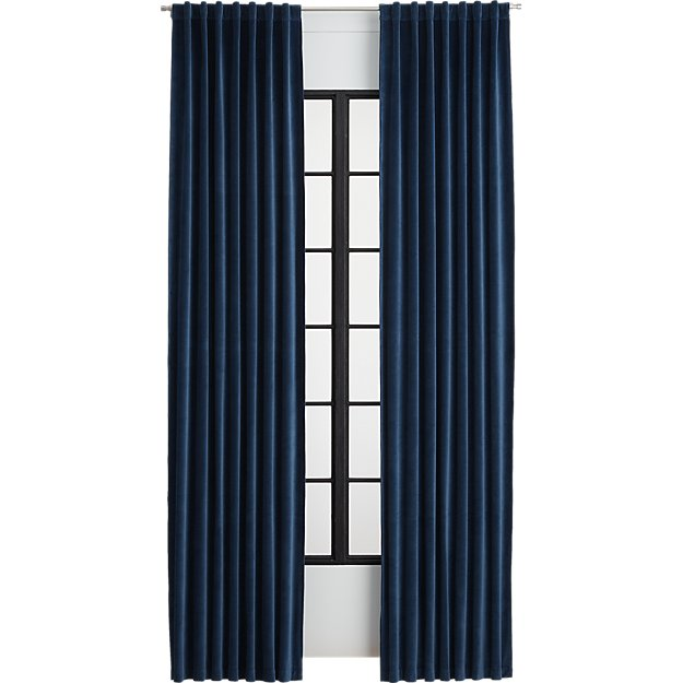 velvet navy curtain panel
