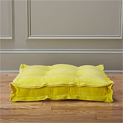 "velvet yellow 23"" floor cushion"