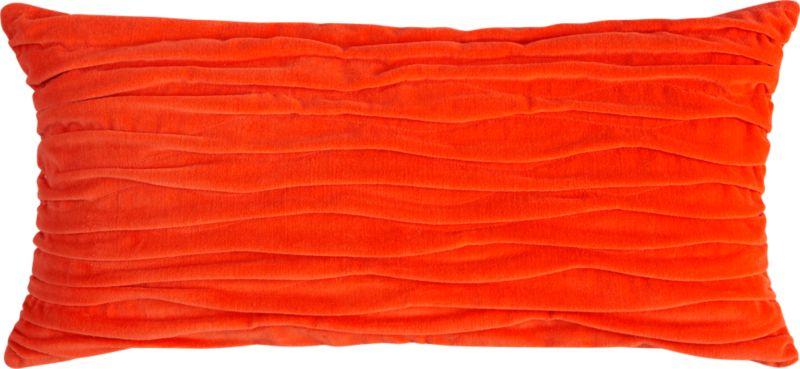 "velvet twist orange 23""x11"" pillow with feather-down insert"