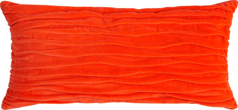 "velvet twist orange 23""x11"" pillow with feather-down insert"