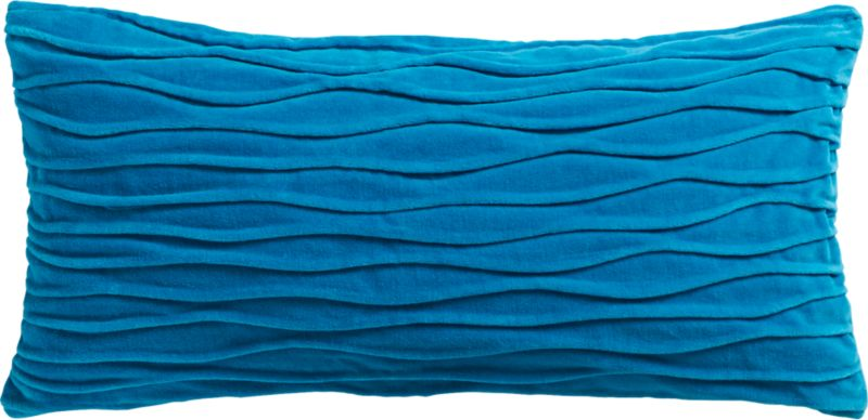 "velvet twist blue 23""x11"" pillow with feather-down insert"