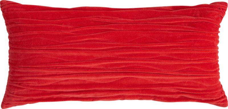 "velvet twist red 23""x11"" pillow with feather-down insert"