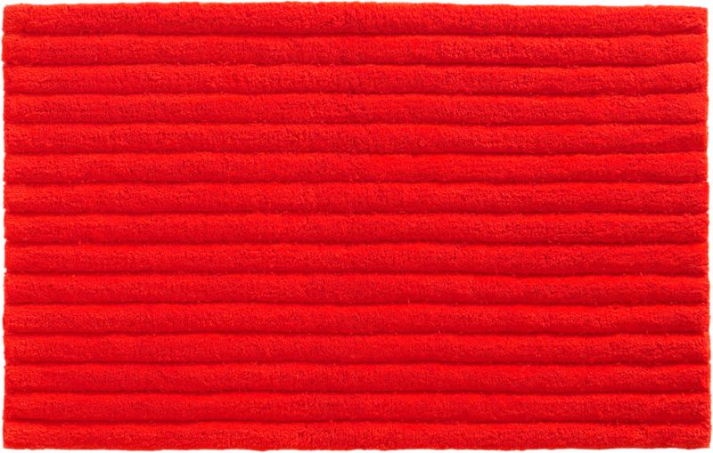 vertical stripe red-orange bath rug