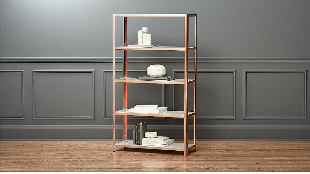 via marble bookcase
