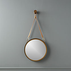 victor leather and brass pendant mirror