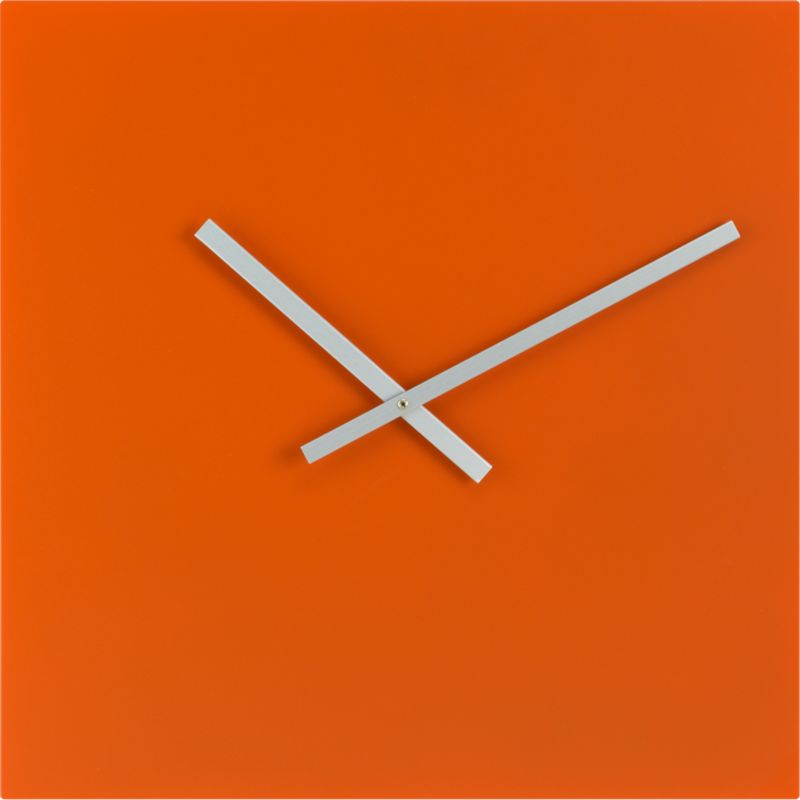 Square Orange Wall Clock - CB2