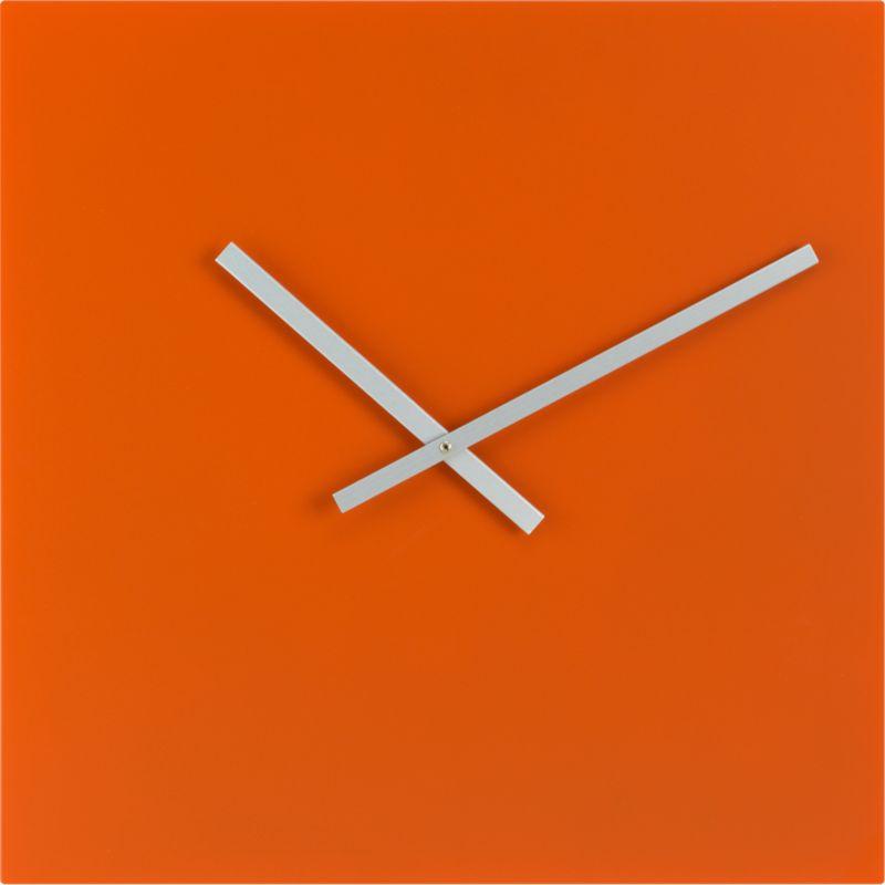 Square Orange Wall Clock - CB2
