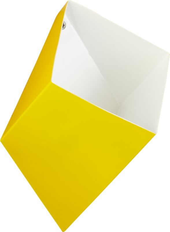"""<span class=""""copyHeader"""">neat angle.</span> Handcrafted in yellow/white powdercoated iron, geometric pocket pops 3D on the wall to contain doodads and smalls. Stash keys and mail in the entry, pens and pencils in the office, reading glasses and remotes in the living room. Mounts easy to the wall with included hardware. Cluster in multiples to graphic effect with wall pocket shadow.<br /><br /><NEWTAG/><ul><li>Handcrafted</li><li>Iron</li><li>Exterior: yellow powdercoat finish</li><li>Interior: white powdercoat finish</li><li>Wall mounts; holds small objects</li><li>Mounting hardware included</li><li>Wipe with soft, dry cloth</li></ul>"""