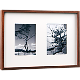 walnut multi 2 5x7 box picture frame