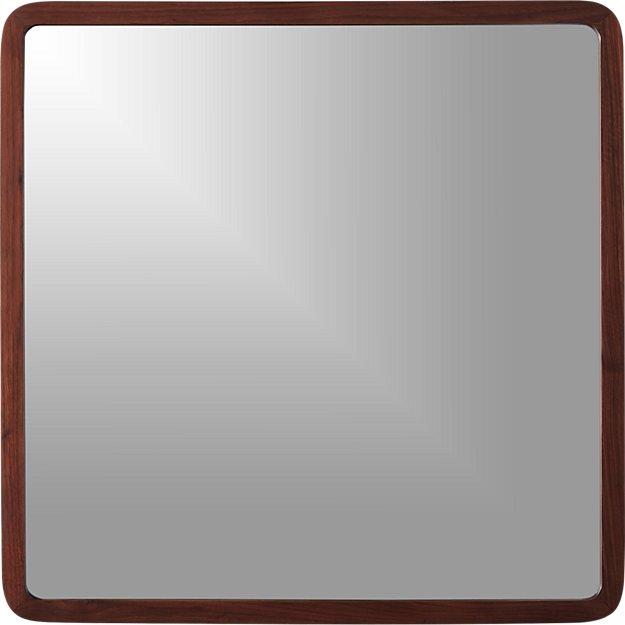 """walnut 30"""" square wall mirror"""