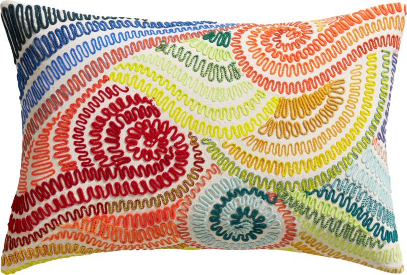 """wanderlust embroidered 18""""x12"""" pillow with feather-down insert"""