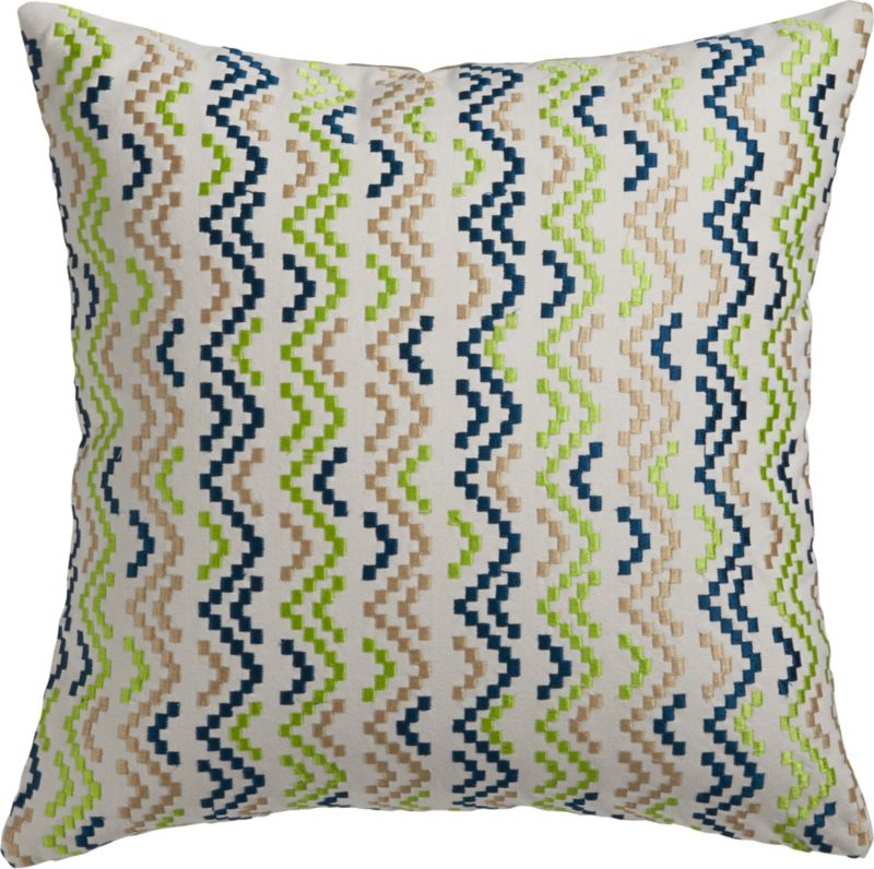"""weave embroidery 16"""" pillow with down-alternative insert"""