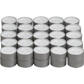 set of 50 aluminum-cupped tealight candles
