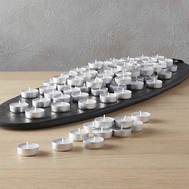 set of 100 aluminum-cupped tea light candles