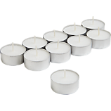 set of 10 aluminum-cupped tea light candles