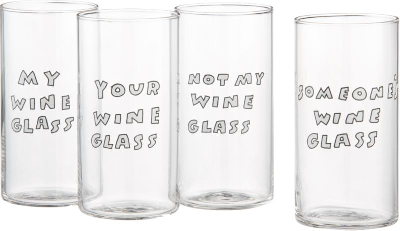 set of 4 whose wine glasses