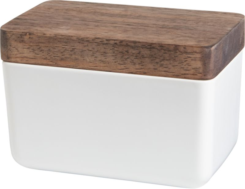 rectangular white bowl with wood lid
