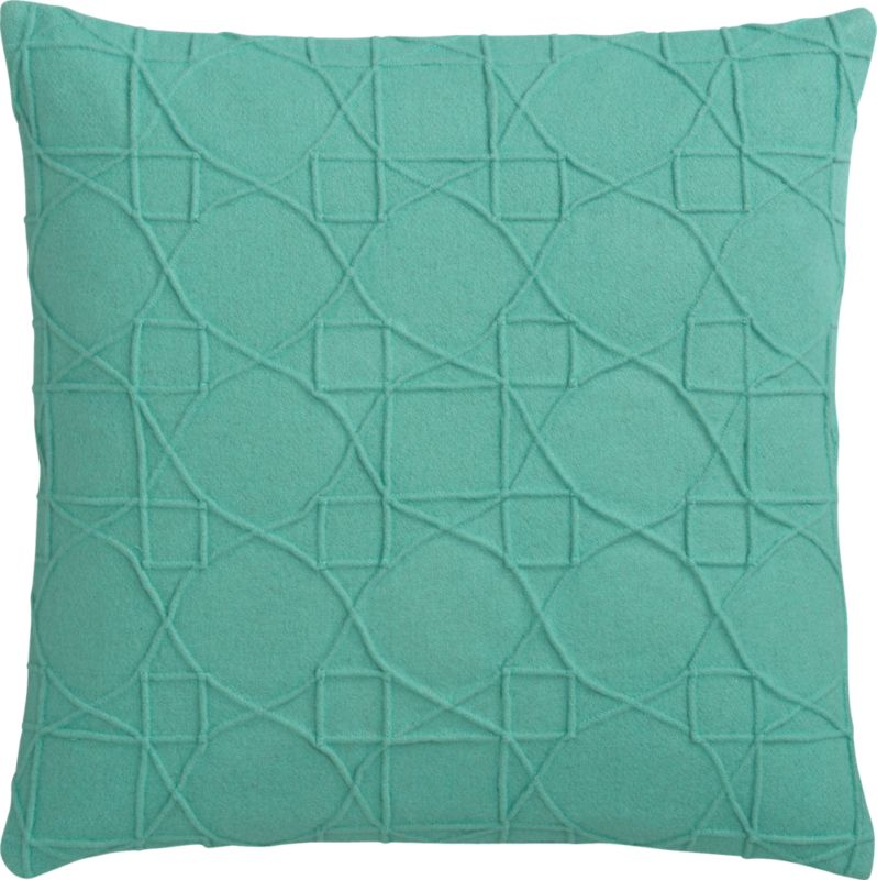 """wooly aqua felt 18"""" pillow with feather-down insert"""