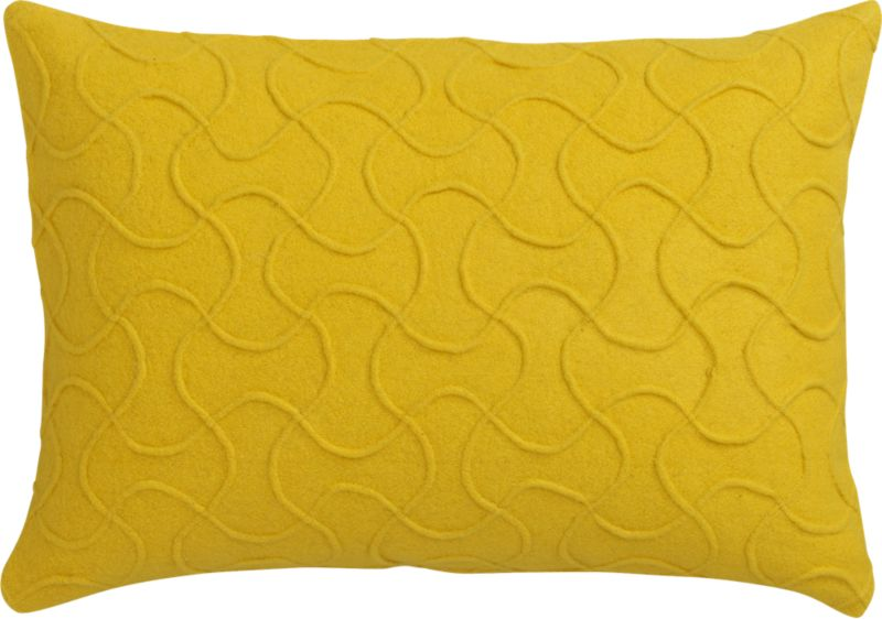 "wooly yellow felt 18""x12"" pillow with feather-down insert"