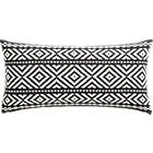 "woven isle 23""x11"" pillow with down-alternative insert."