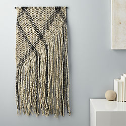 woven plaid paper wall hanging
