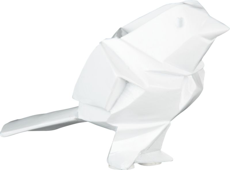 """<span class=""""copyHeader"""">chirp chirp.</span> Origami-esque avian perches in white polyresin. Form a flock with georges bird large.<br /><br /><NEWTAG/><ul><li>White polyresin</li><li>Wipe with clean cloth</li></ul>"""
