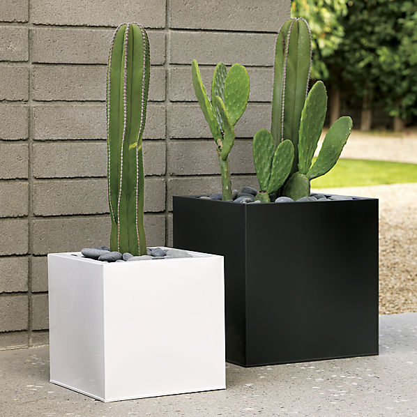 Blox galvanized charcoal planters cb2 for Cb2 indoor outdoor rug
