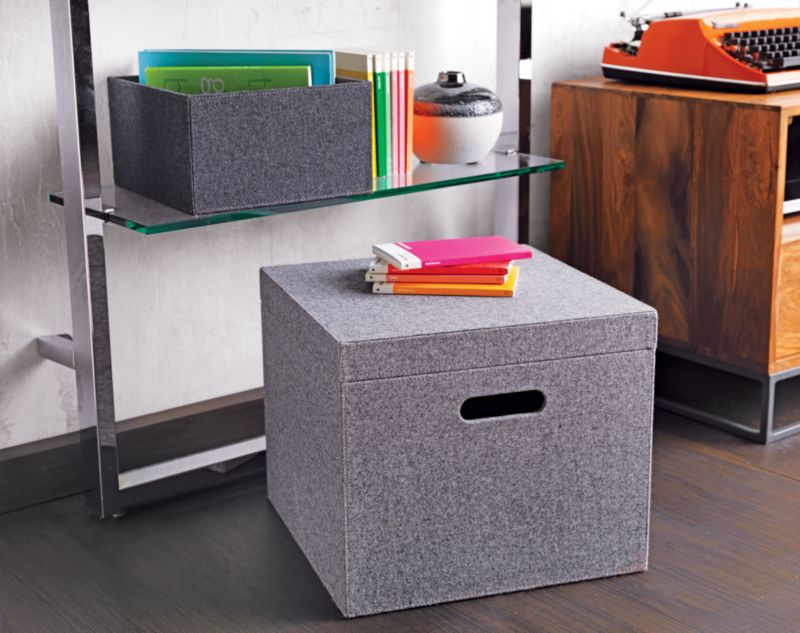 grey felt file box