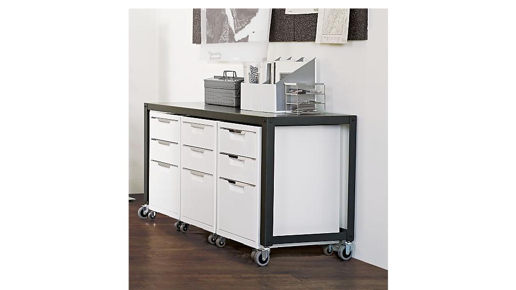 TPS white 3-drawer filing cabinet