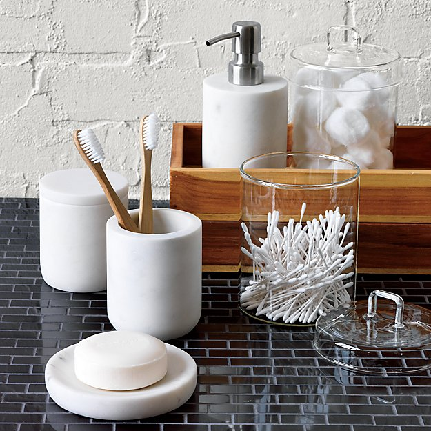 Marble bath accessories cb2 for Marble toilet accessories