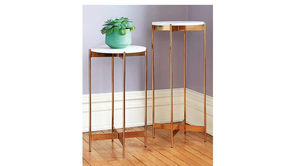 marble-rose gold tall pedestal table