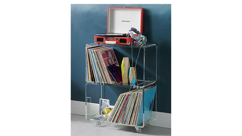 peekaboo acrylic rolling two shelf