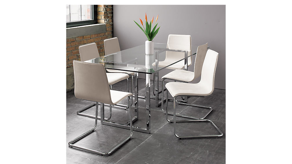 "silverado chrome 72"" rectangular dining table"