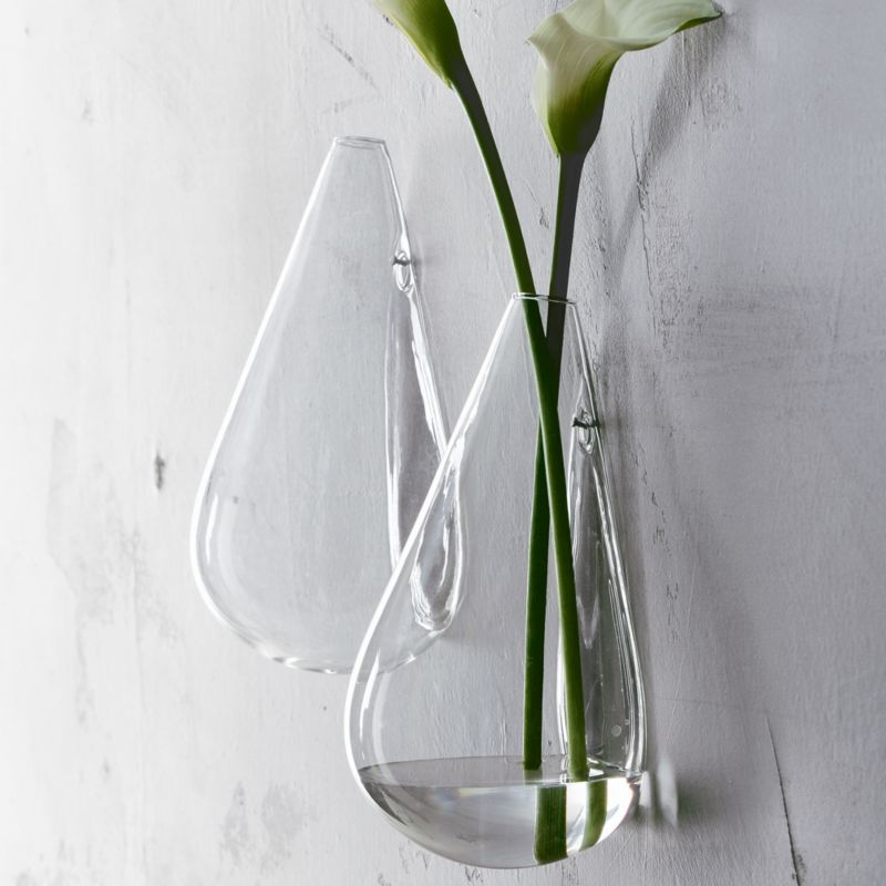 CB2 wall mounted teardrop flower vase