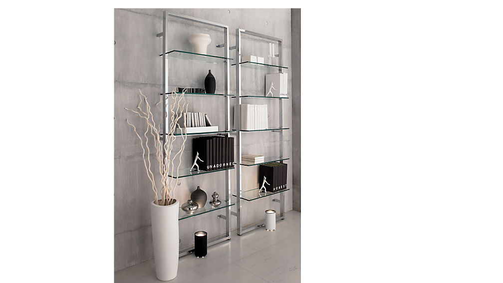 Tesso chrome 84 wall mounted bookcase cb2 Wall mounted bookcase shelves