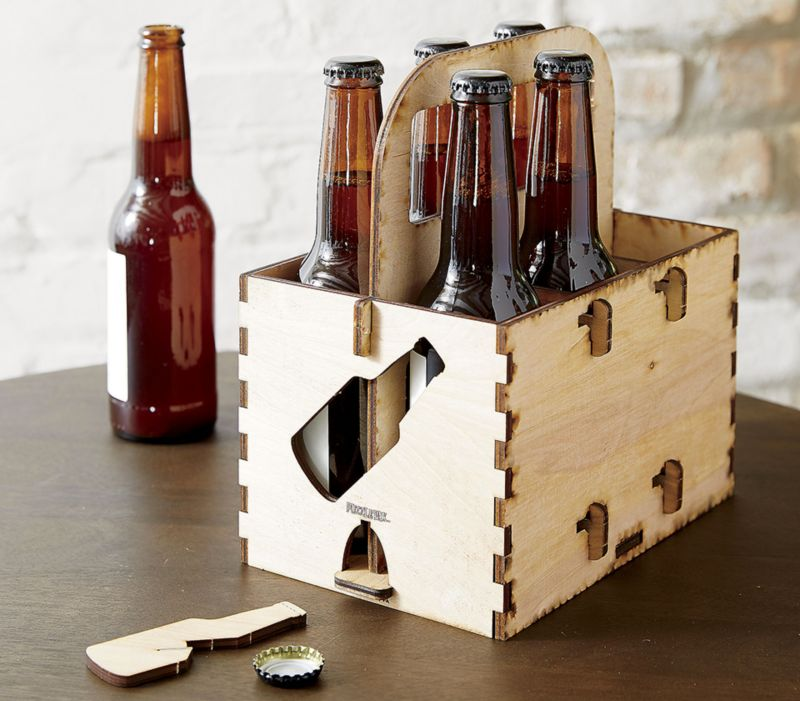 wood beer holder with opener