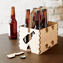 wood 6 pack holder with opener