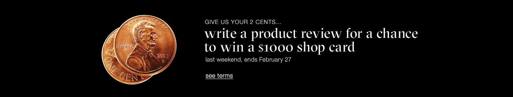write a product review for a chance to win a $1000 shop card