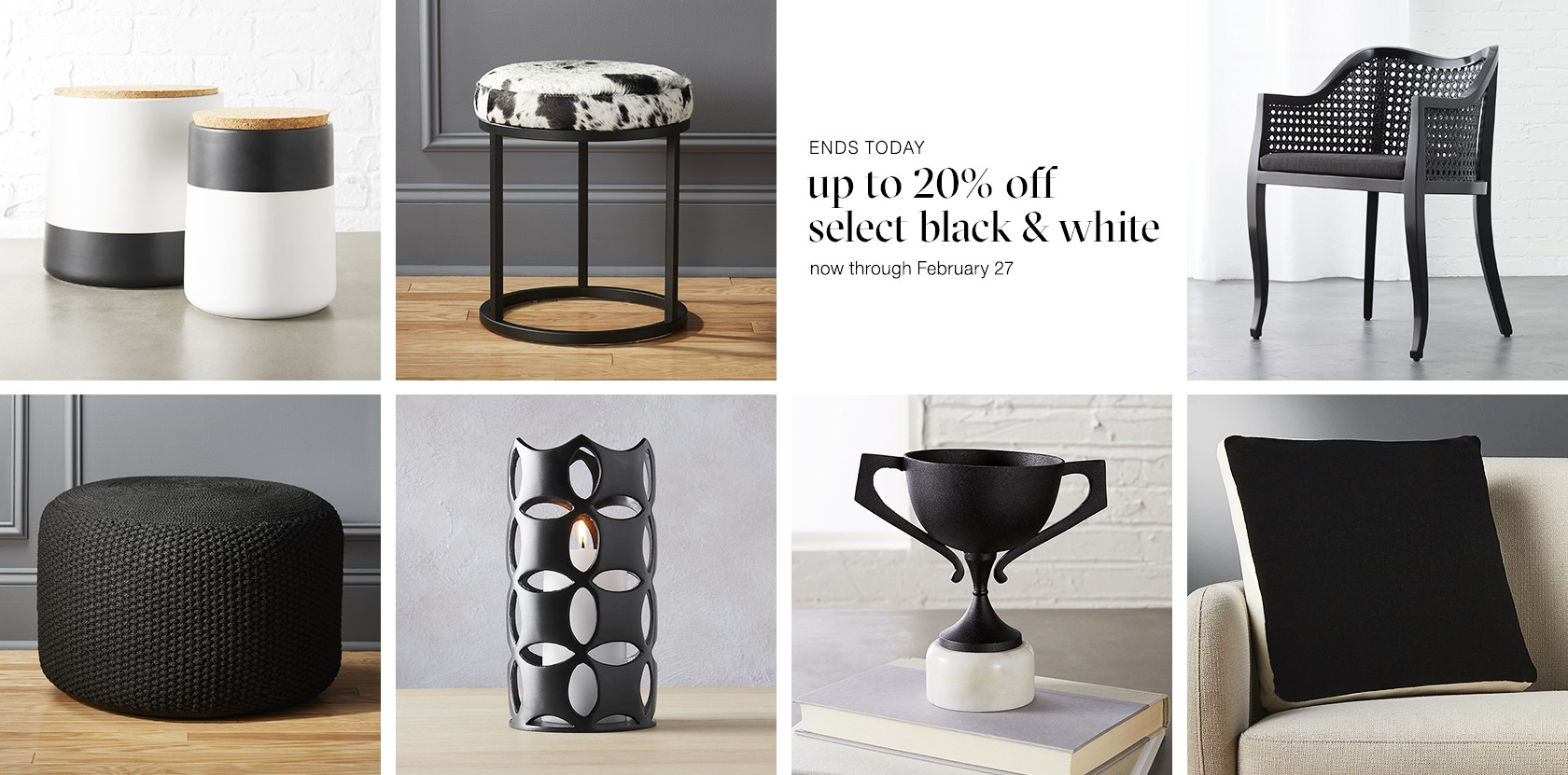 up to 20% off select black and white