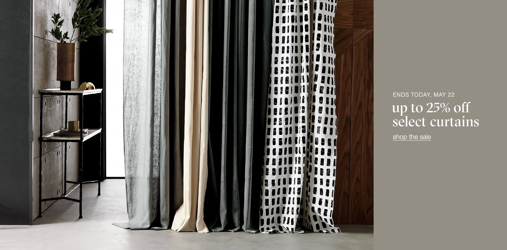 up to 25% off select curtains