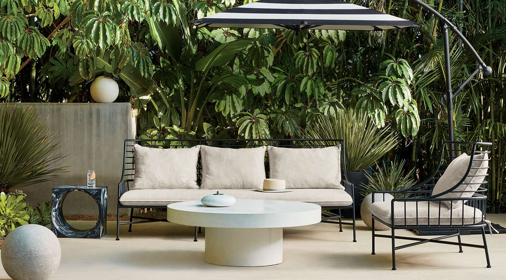 outdoor lounge area with modern furniture