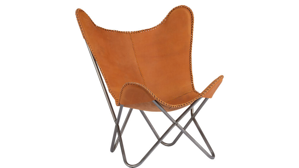 tobacco leather butterfly chair