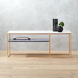 2 tone marble credenza