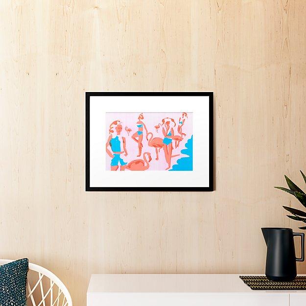 "flamingos with black frame 23.5""x18.25"""