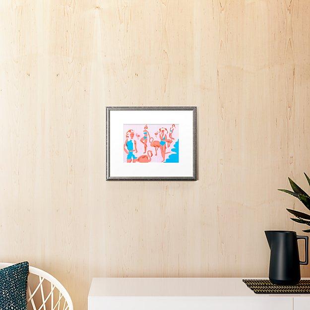 "flamingos with pewter frame 16.5""x13.25"""