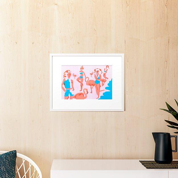 """flamingos with white frame 23.5""""x18.25"""""""
