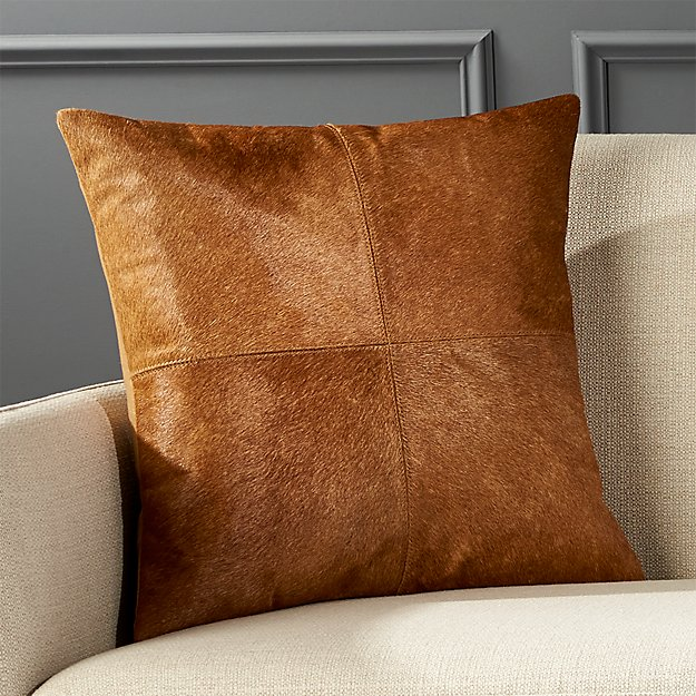 "18"" Abele Brown Cowhide Pillow with Feather-Down Insert"
