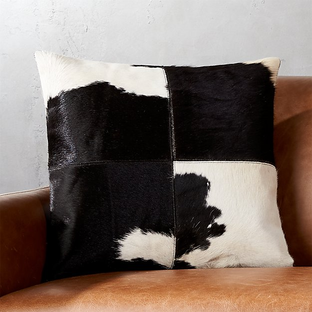 """18"""" Abele Spotted Cowhide Pillow with Feather-Down Insert"""